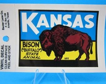 "Vintage... ""KANSAS - BISON (Buffalo) State Animal""   Sticker / Decal  (New Old Stock)"