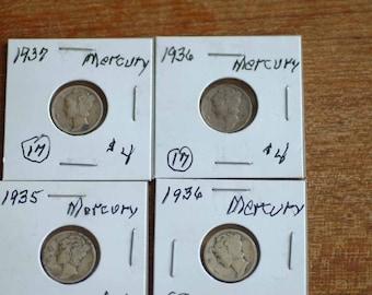 14 Mercury Dimes