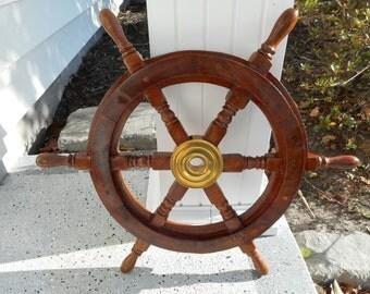 Nautical 18 inch wooden ships wheel, nautical decor, beach decor