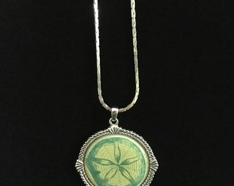 Green Sand Dollar Pendant on a Silver Backing and Chain  (RGB-Bx 4)