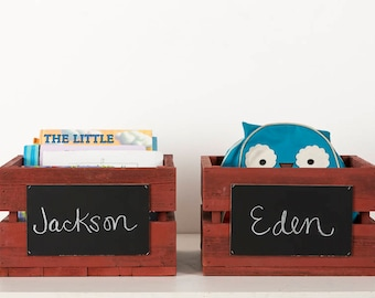 Stackable Crate Boxes with Chalkboard Front (set of 2)