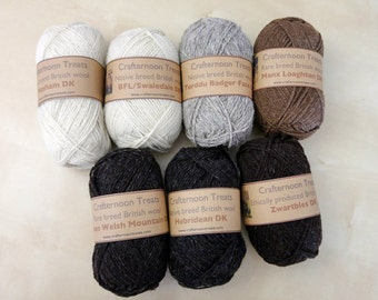 Rare or single breed British wool, natural undyed. DK weight: Balwen, Manx Laughtan, Zwartbles, BFL cross, Hebridean, Welsh mountain Torddu
