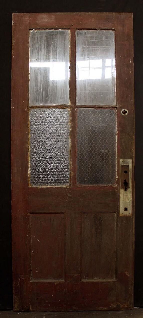 Antique Wood Wooden Exterior Entry Door Chickenwire Glass Lite Pane Window W 4 Windows 2