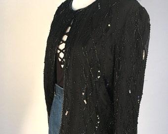 Vintage 1980s Stunning Black Silk Beaded Sequin Jacket!!