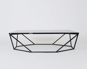 Modern Small Coffee Table in Black Marble and Blackened Steel