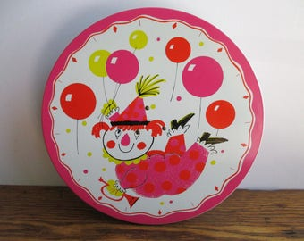 Vintage Happy Birthday Musical  Clowns and Balloons Cake Stand