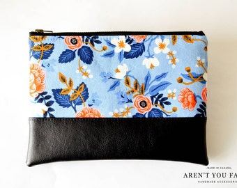 Cosmetic Bag, Clutch, Make-up Bag, Pouch, Floral, Rifle Paper Co., Modern, Cotton and Faux Leather by Aren't You Fancy!