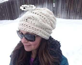 Cabled Slouchy Beanie-Oversized, Slouch,  Slouchy Hat, Hand Knit, Oversized, Baggy, Chunky Beanie, Cabled, Hand Knit, Cream
