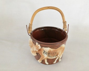 3D POTTERY MOOSE NUTS Handled Pail - Figural Moose - Hunting Outdoors Theme - Moose Nuts Candy Dish Bowl