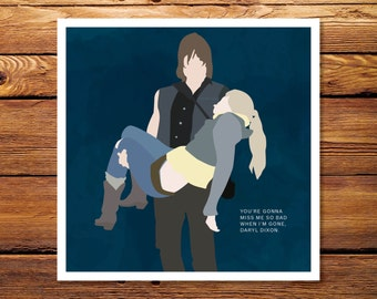 Daryl and Beth - The Walking Dead 8x8 Giclee Print