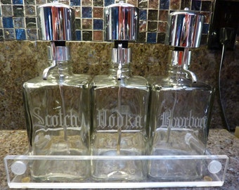 Vintage Set Of Three Pump Decanters Scotch Bourbon Vodka With Acrylic Tray