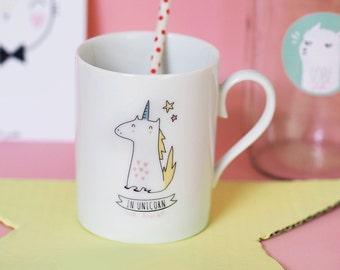 """Mug """"In Unicorn We Trust"""" jaune"""