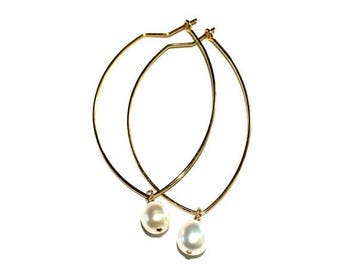 GEO Gold Hoops, Pearl Earrings, Gold Earring, Hoops