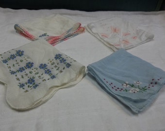 Vintage Lot of Pinks and Blues Handkerchiefs, S