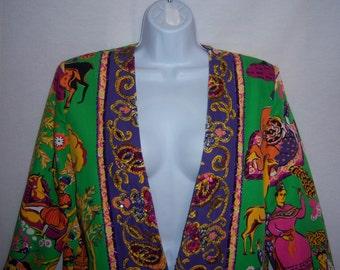 Vintage Diane Freis Green Purple Gold Orange Beaded Sequined Jacket Medium Evening