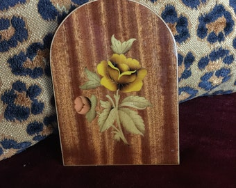 Italian Sorrento Inlaid wood rose bookend