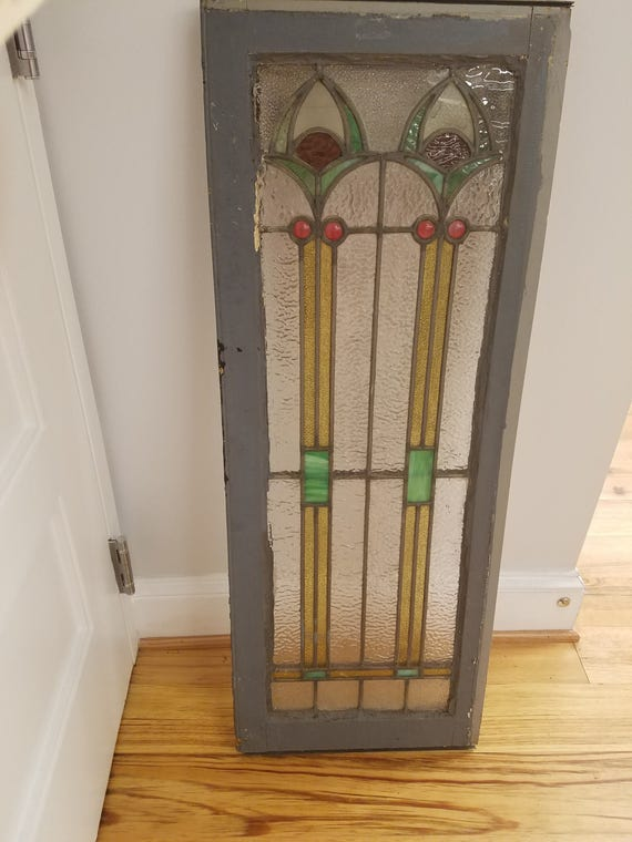 Art Deco Era Stained znd Leaded Glass Window, Baltimore, ca 1930s