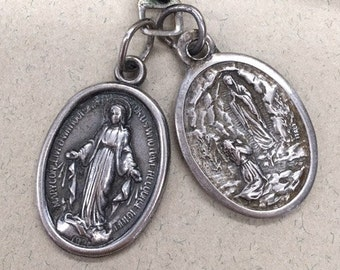 Our lady of Lourdes Medal Virgin Mary Medal Double Sided Medal Pendant Italy Set of 2 on Black Cord