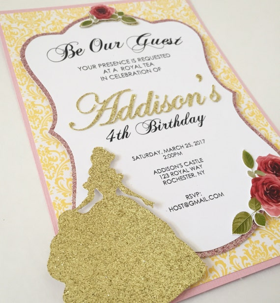 Beauty and the Beast Printable Silhouette Birthday Party Invitations