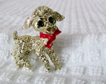 Christmas Lamb Pin, Gerry Jewelry, Gold Lamb with Green stone Eyes and Red Ribbon, Christmas Jewelry ~ BreezyTownship.etsy.com