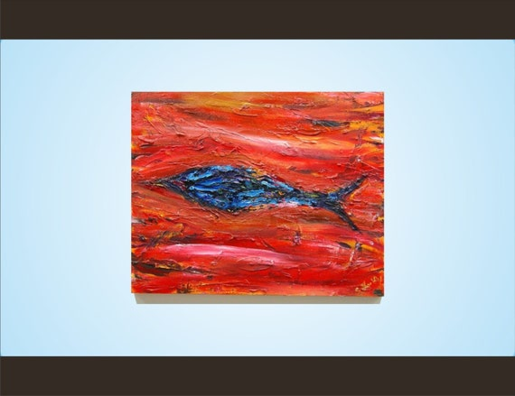 "Oil painting, abstract, wall art, fish, OOAK  ""Swimming through fire""  19.5"" x  15.5"""