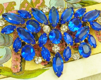 VINTAGE STERLING open backed STATEMENT rhinestone blue broach