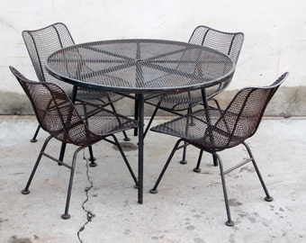 SOLD   Russell Woodard Sculptura Iron Patio Set With 4 Chairs And Dining  Table Mid Century