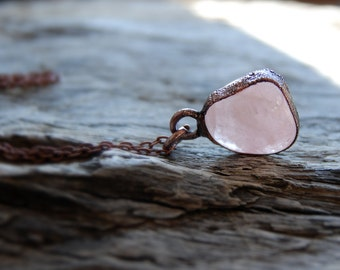 Rose Quartz, delicate, raw stone, electroforming, framed with copper, nature lovers, dainty necklace, boho, jewelry by MARIAELA