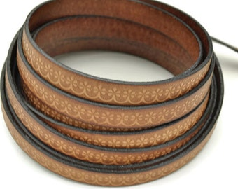 """10MM Floral Loop Embossed Leather Cord - Cognac - High Quality Leather Cord - Qty. 2ft/24"""""""