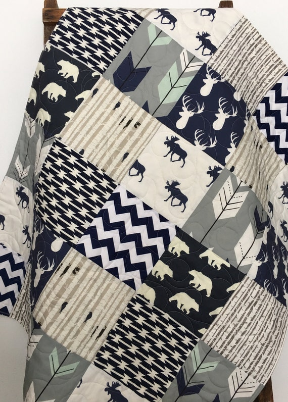 Baby Quilt Boy Navy Gray Crib Bedding Woodland By Coolspool