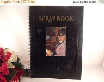 Scrap Book Black Embossed Leatherette Beige Blank Paper Spiral Bound Portfolio Vintage Memorabilia Photograph Album Scrapbooking Supply