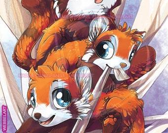 cute little red pandas Print, 15x21 cm, 5.9 x 8.2 inch