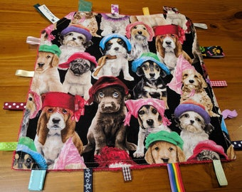 Taggy blanket, Security blanket, Baby taggy, baby gift, sensory blanket,  Baby toy red minky back Comical Dogs wearing Hats