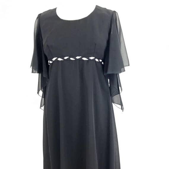 Maxi dress black floaty butterfly sleeve long sheer chiffon gown 70s disco dress boho festival 1970s dress party UK 14 16