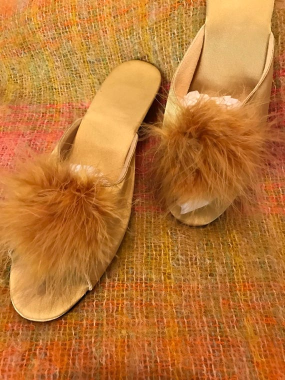 Vintage slippers gold marabou feather budoir mules wedge house shoes 1950s style pin up sexy burlesque striptease glamour UK 5