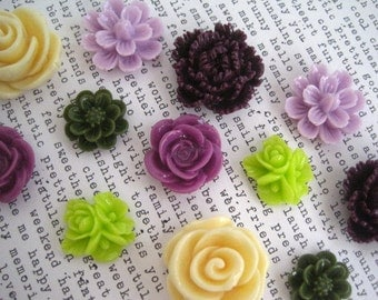 Pretty Magnets, 12 pc Flower Magnets in Plum, Lilac, Olive Green, Cream and Lime Green, Kitchen Decor, Wedding Favors, Locker Magnets