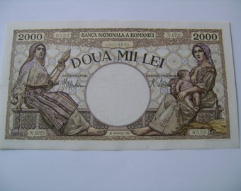 1941 Romanian 2000 Lei Banknote Romanian Europe Currency for Sale Foreign International Old Paper Money Buy Banknotes Online Collectors Note