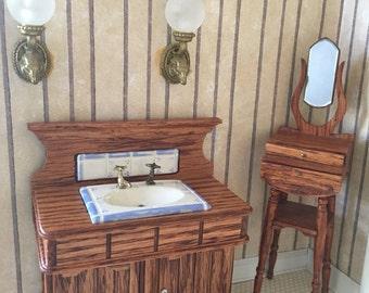 Vintage Dollhouse Bathroom Set