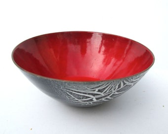 Edward Winter Enameled Bowl Brilliant Red & Black! MCM