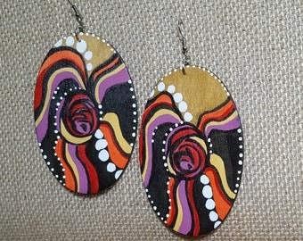 Eargasms Hand-painted Abstract Earrings /OOAK