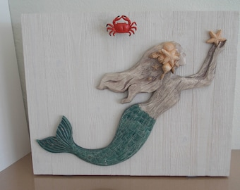 MERMAID PULLDOWN CABINET . Coastal Decor . Solid Wood . Flip down for additional ledge . Removable Shelves . Hand Painted . Free Shipping