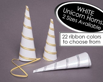 Unicorn Horn White Shimmery Cone With Your Choice of Ribbon Color White Unicorn Horn SINGLE