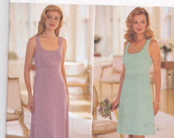 Butterick 4337 Vintage Pattern Womens A Line Tank Dress in Knee and Evening Length Size 6,8,10,12 UNCUT