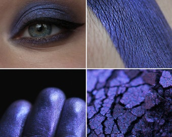 Eyeshadow: Remembering the Name of the Raven - Undead. A bluish, dusty, smoky blueberry eyeshadow by SIGIL inspired.