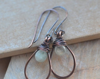 Handmade Copper Earrings with Aquamarine Briolette Drop Beads, UK Seller