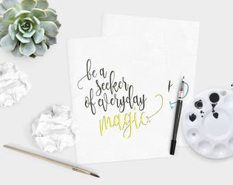 Yellow Seeker of magic - Magic quote - life quote - Inspirational quote - hand lettered wall art - watercolor quote  - dorm decor