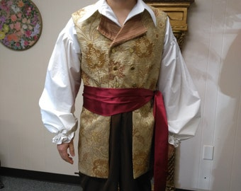 Pirate vest, shirt, and pants set. LARP, SCA, Renaissance, reenactment, costumes, garb, rogue