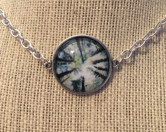 """16"""" Tall Trees Glass Pendant Necklace"""