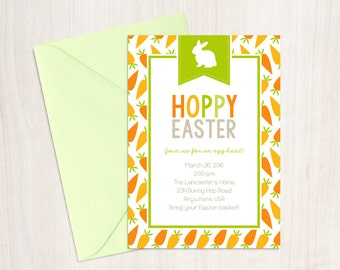 Hoppy Easter Invitation - Easter Party Invitation - Easter Brunch Invitation - Easter Egg Hunt Invitation