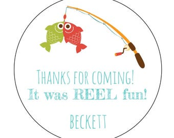 12 Fishing Stickers, Reel Fun, Fishing Theme, Fishing Birthday, Camping Labels, Fish Stickers, Camping Theme, Fish Party, Summer Theme